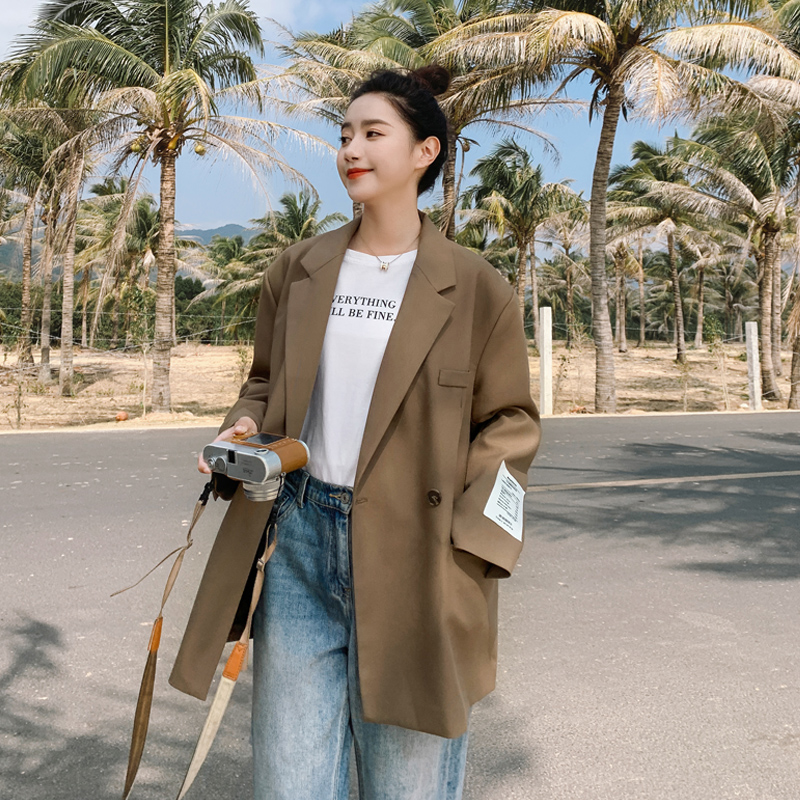 Curry suit jacket women casual spring and autumn 2021 new cloth high-level sense of design sense niche early spring suit