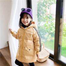Childrens wear 2020 winter new medium-length thick girl warm down cotton clothing boys camouflage hooded cotton clothing.