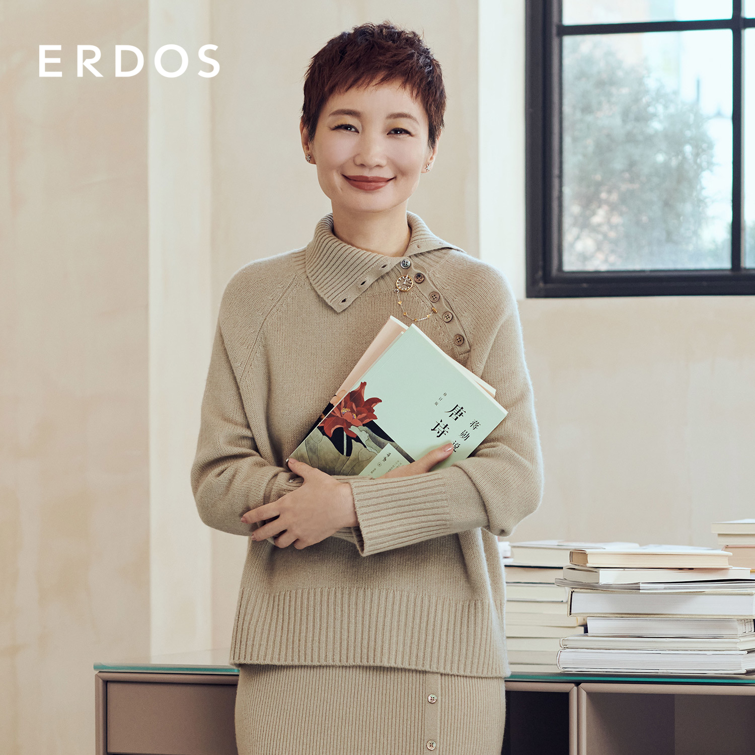 ERDOS E series 20 autumn and winter new products shoulder sleeves fashion stiletto neck liner sweater