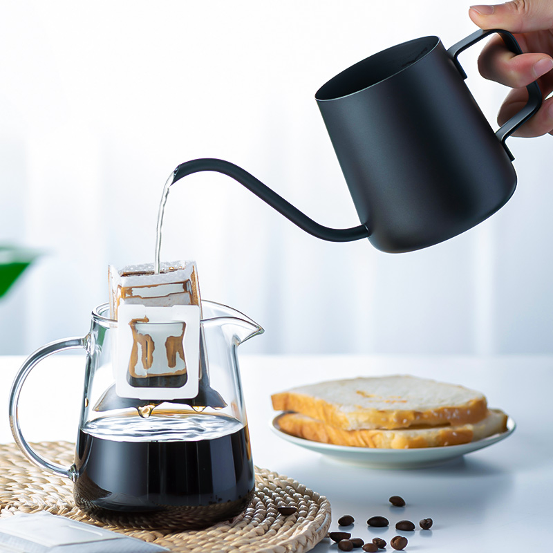 Tianxi hand brew coffee pot coffee filter cup fine mouth pot stainless steel household coffee utensils hanging ear long mouth kettle