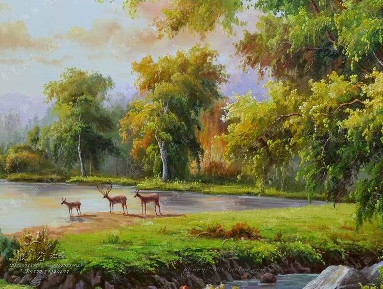 歐式油畫純手繪客廳山水風景家飾別墅玄關壁爐有框裝飾五鹿聚寶盆