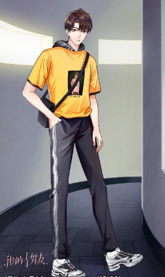 官邵是个阳光帅气的气质男生,其卡其色裤装与上身的黑色T恤显现出温柔气质的同时,也让人感觉到可靠