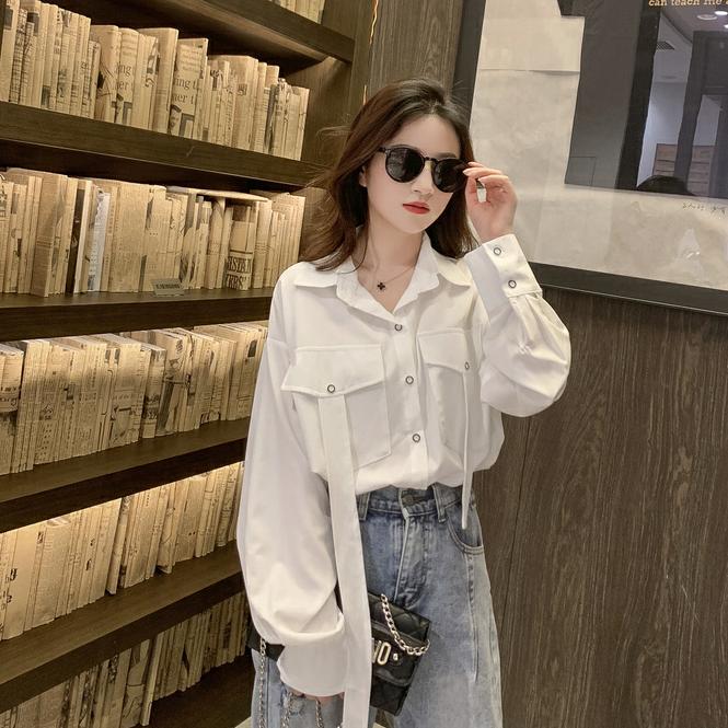 2019春季新款韩版Polo领单排扣白色衬衫上衣女复...¥89.9
