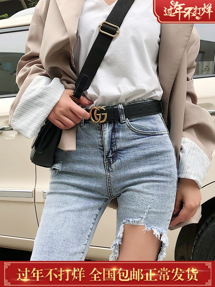 High waist jean shorts female Summer 2019 new style hole wearing tight five pants skinny riding Korean version of five pants