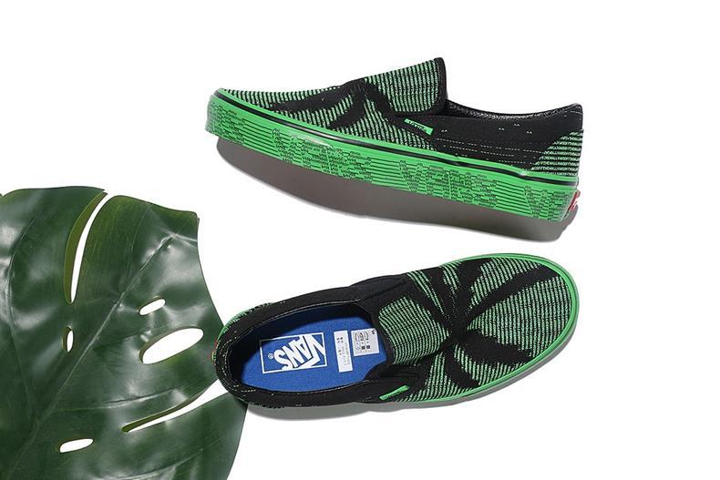 这双看似普通的黑绿配色Slip-On,设计师巧妙的用一行行代码印花空置出了时下热门的棕榈树形状,和绿色一起把一双本该严肃的代码复古球鞋变得新潮起来