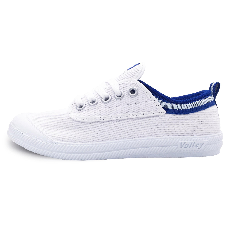 VOLLEY情侣小白鞋白色帆布鞋,情侣礼物什么好