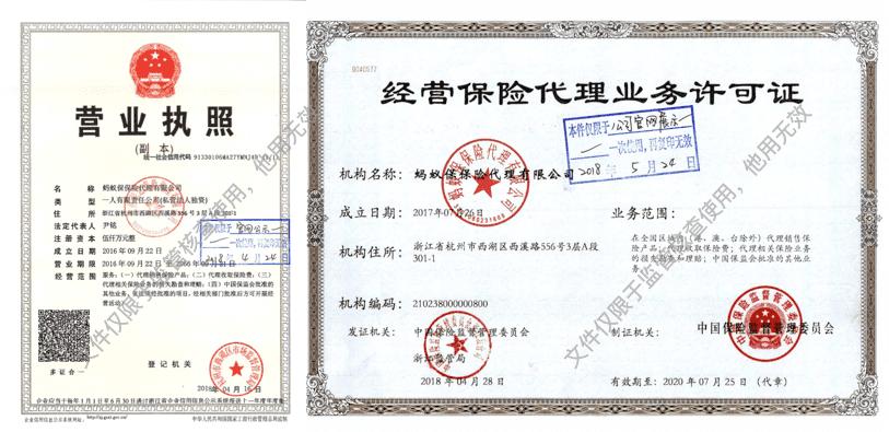 营业执照及经营保险代理业务许可证