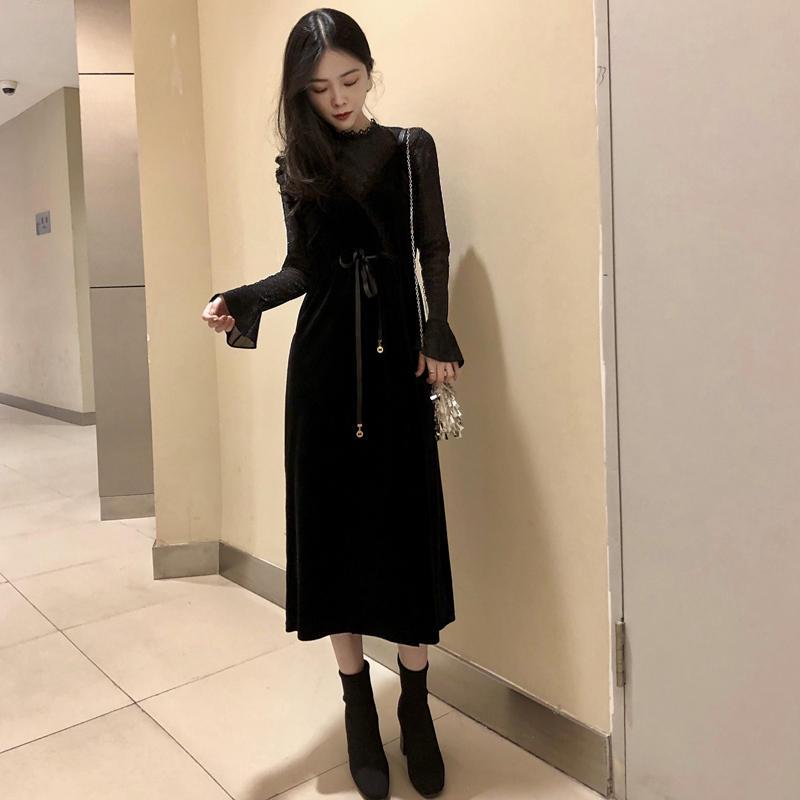 金丝绒拼接蕾丝吊带裙两件套收腰显瘦连衣裙长袖女201...¥98