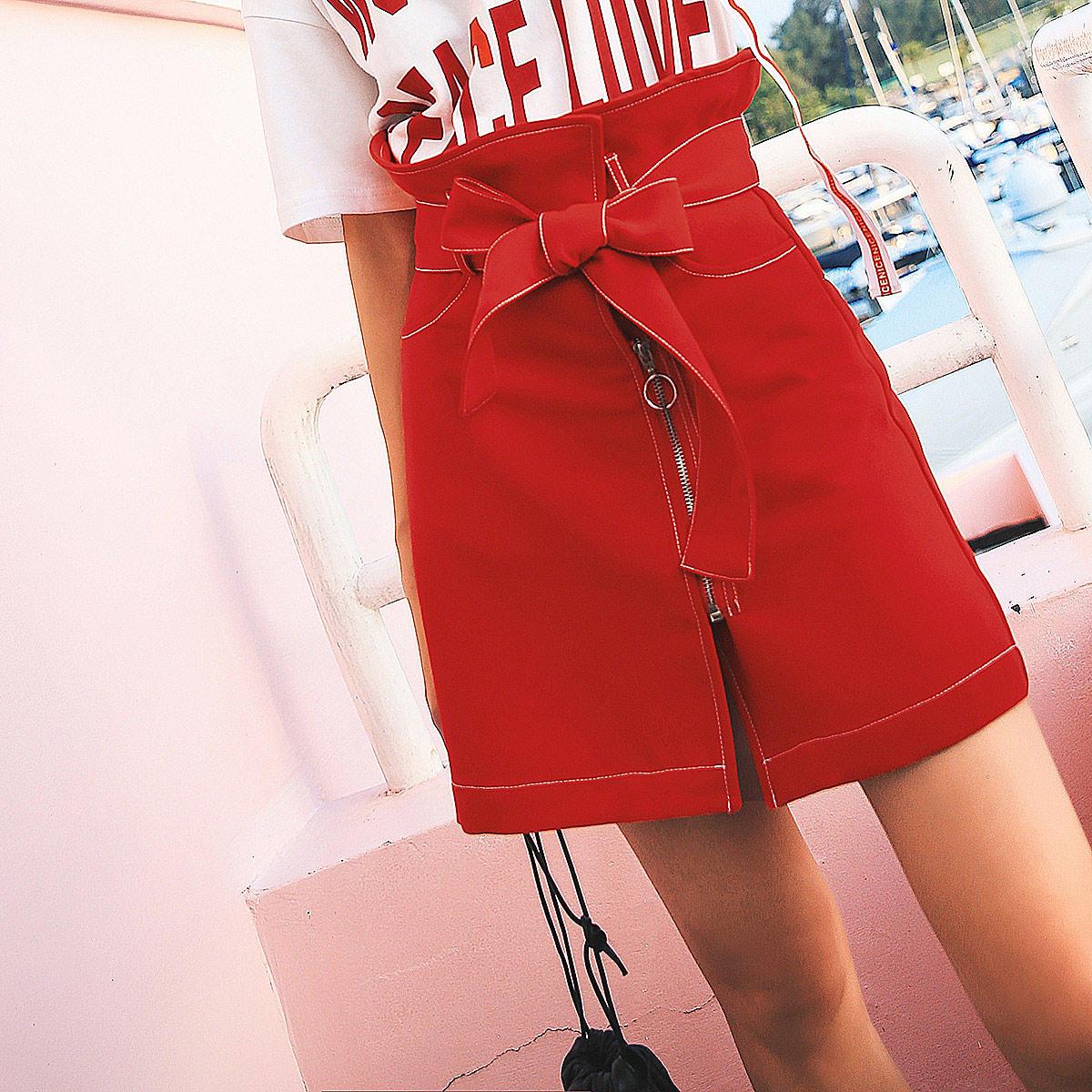 七格格a字裙半身裙夏女2018新款时尚包臀裙高腰一片...¥149.99