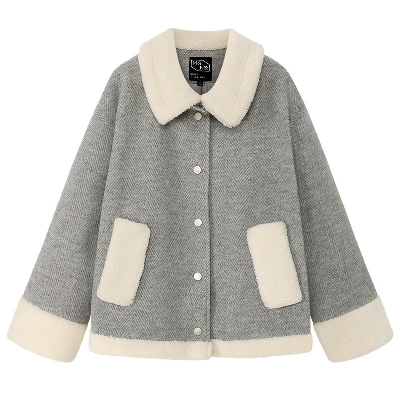 MG小象毛呢外套女短款大衣2019流行秋冬新款小个子...¥169