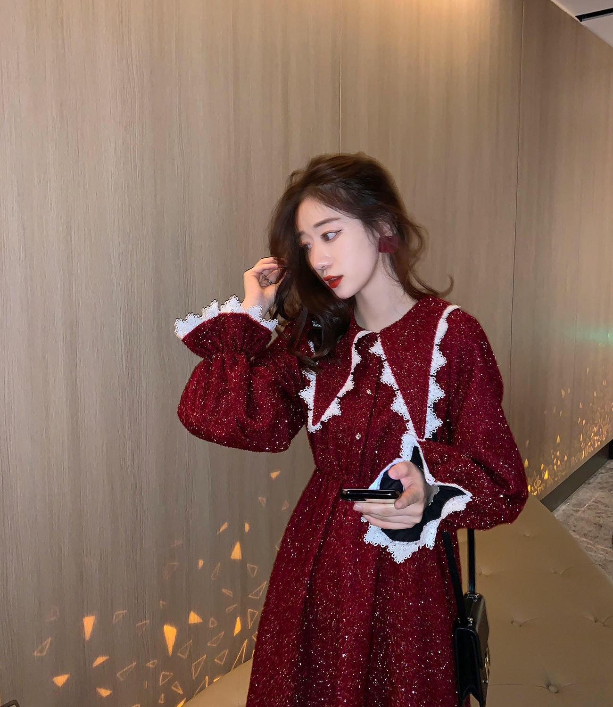 红色海军领连衣裙秋冬2019新款韩版宽松收腰长袖裙子...¥149.9