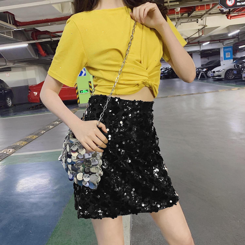 2019夏季新款流行女装裙子时髦夜店亮片半身裙高腰...¥79.9