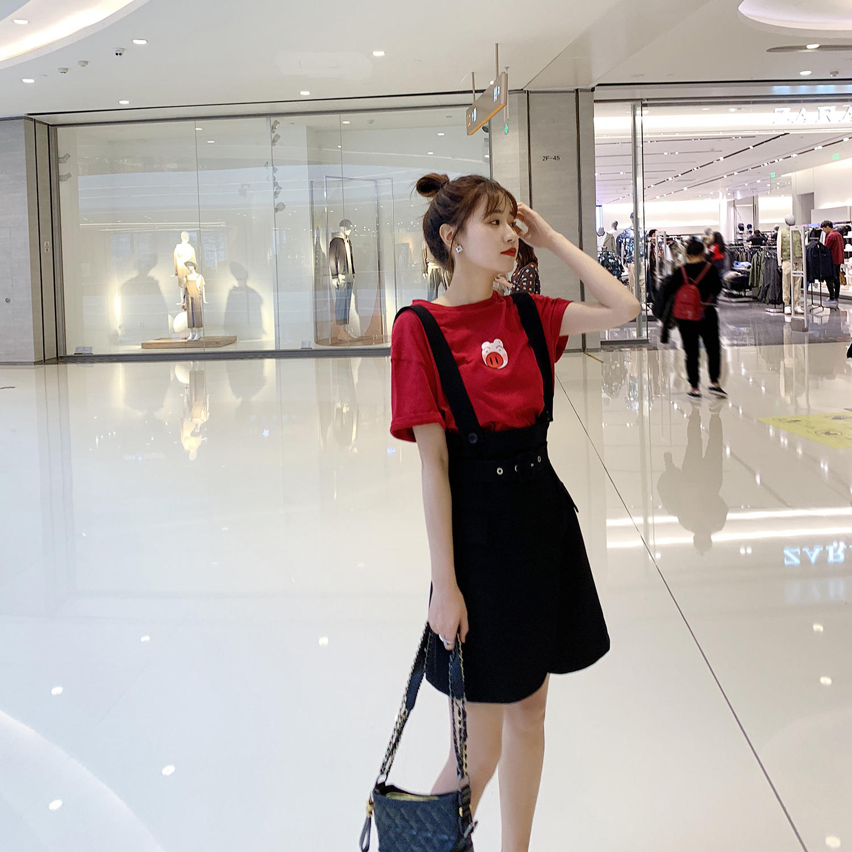 女装2019款春黑色裙子韩版休闲百搭高腰背带裙连衣...¥109.9