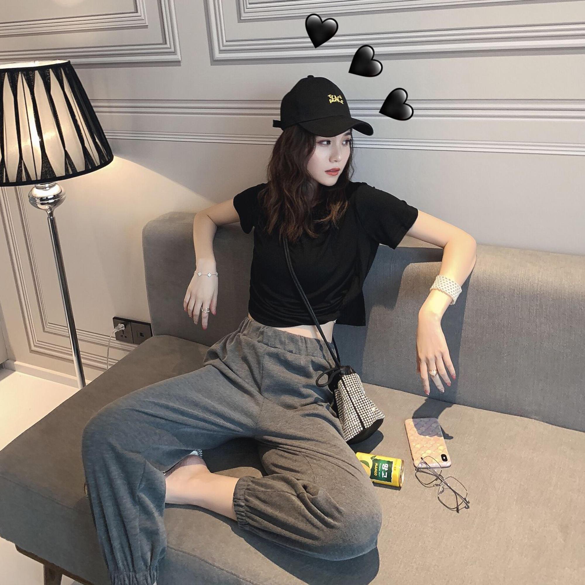 洋气露脐短袖T恤休闲套装女夏季2019新款韩版潮网红...¥89.9
