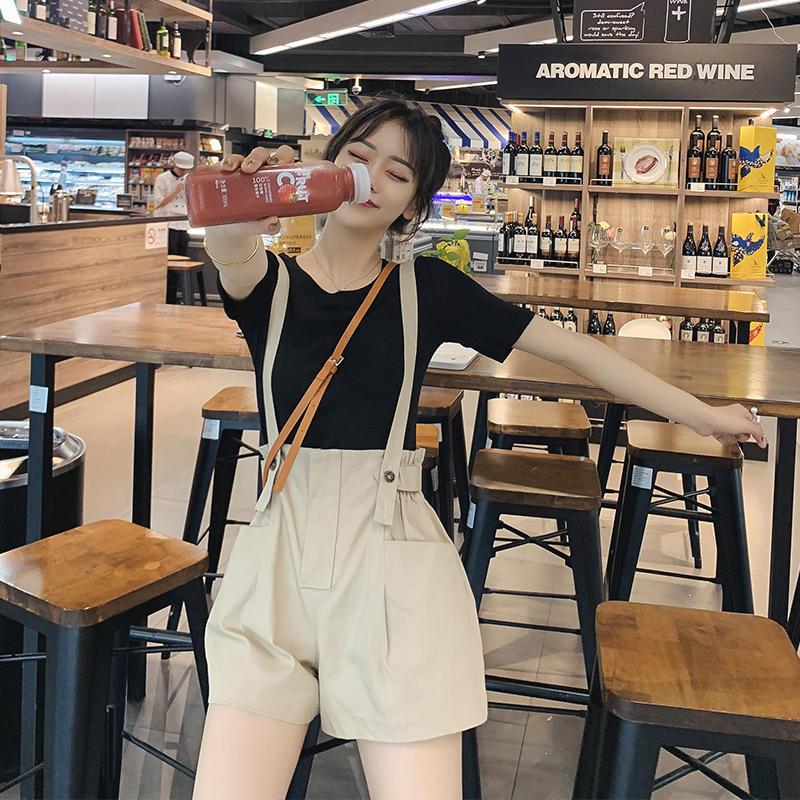 花苞牛仔背带裤套装女夏季2019新款短袖T恤吊带阔腿...¥38