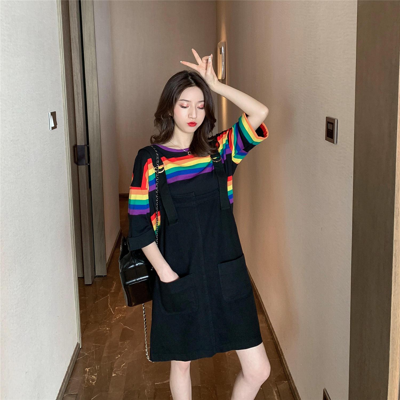 2019夏季新款韩版条纹T恤+黑色背带连衣裙套装女洋...¥149.9