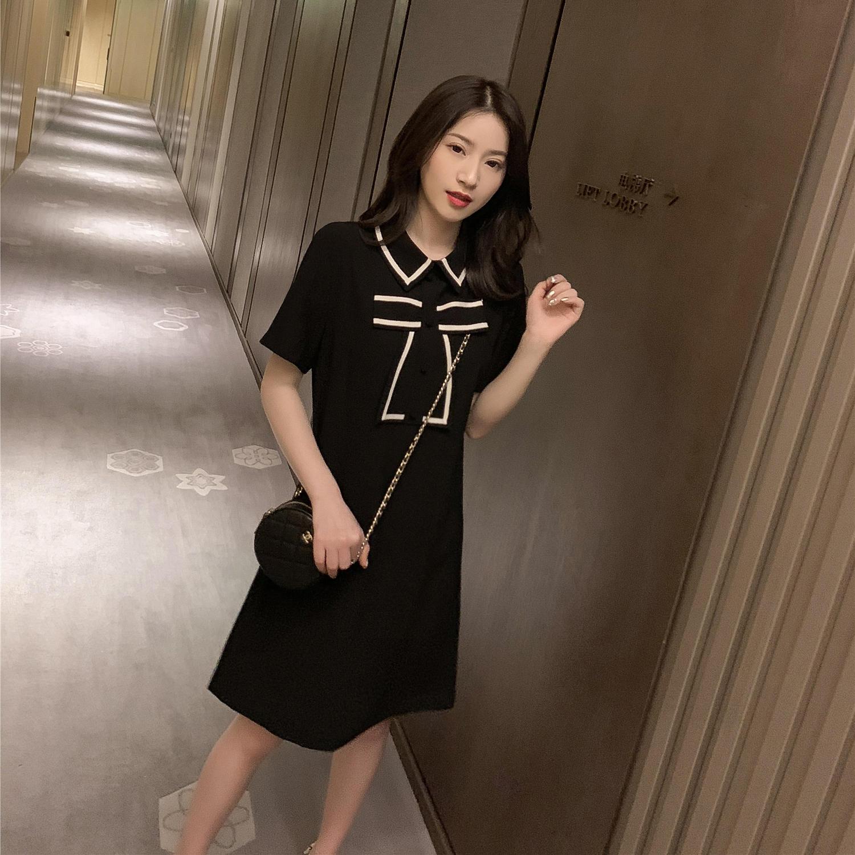 春季2019新款韩版中长款蝴蝶结短袖衬衫连衣裙女装学...¥119.9
