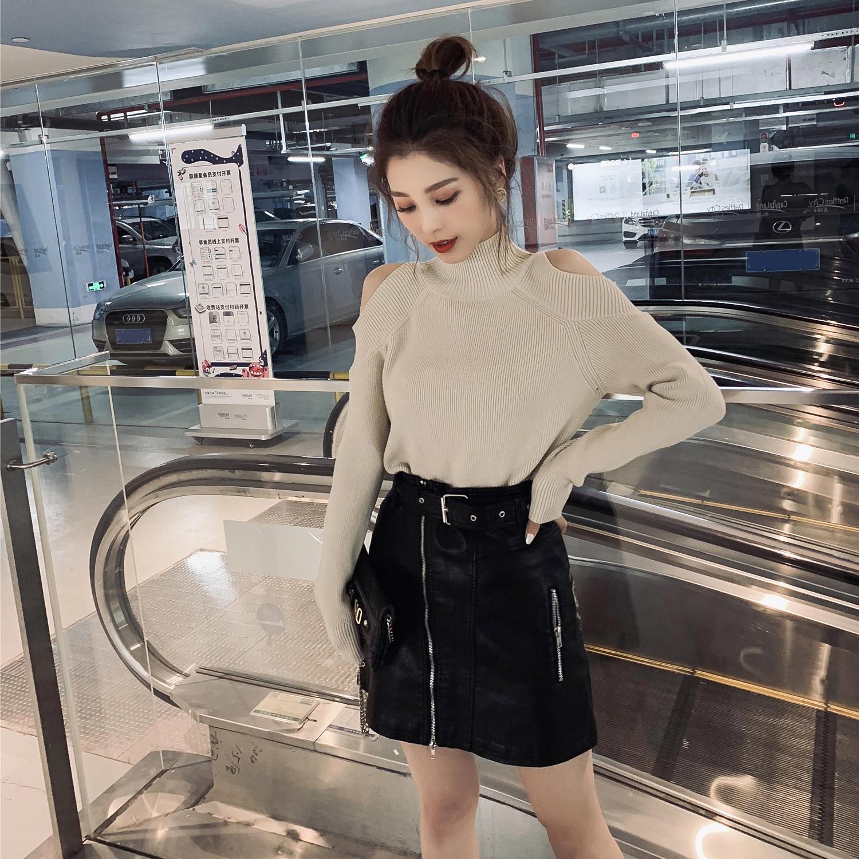 春装2019新款韩版半高领露肩套头黑色毛衣女装chi...¥89.9