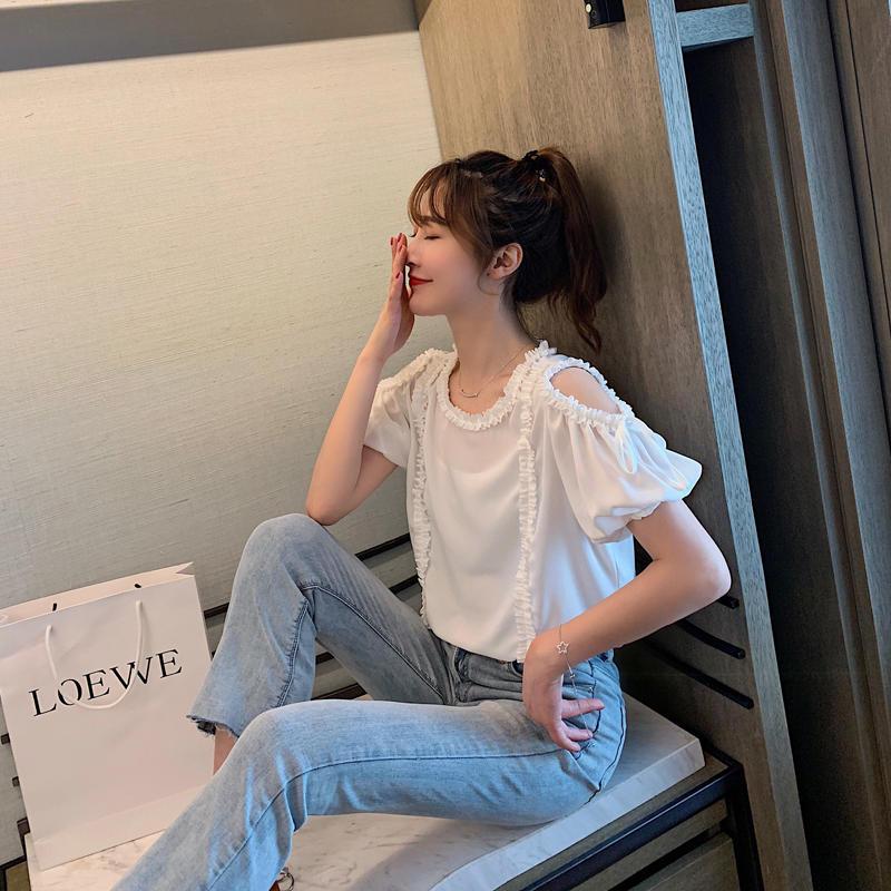 夏装2019新款女韩版时尚露肩系带衬衫花边拼接纯色小...¥79.9