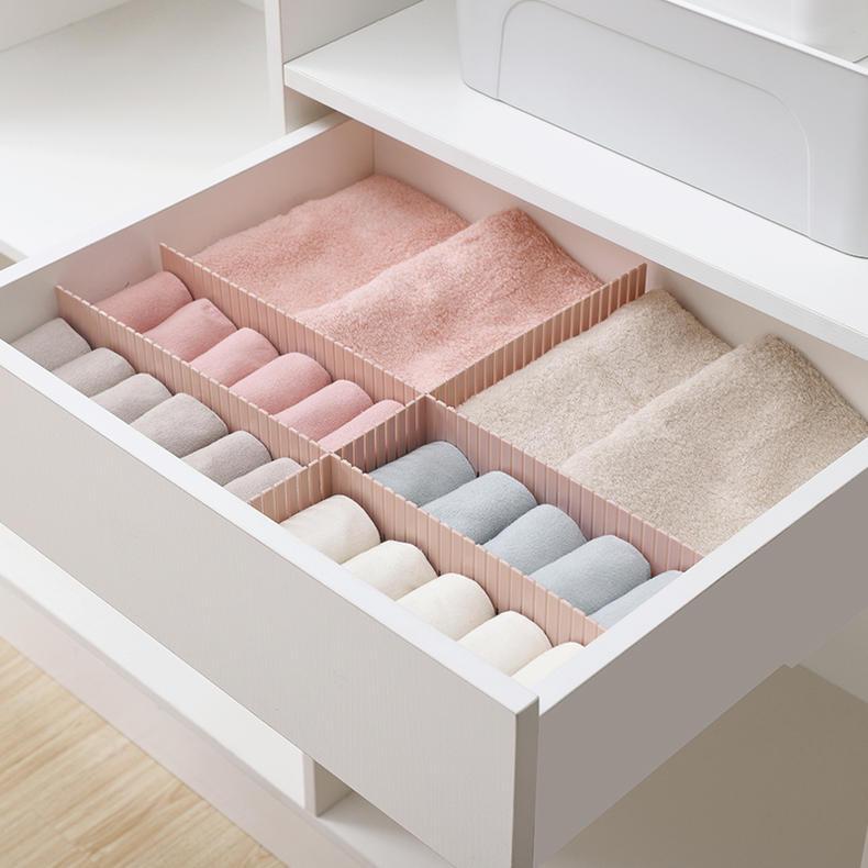纳川抽屉收纳分层隔板分格自由组合内衣袜子柜子整理伸缩活动隔断