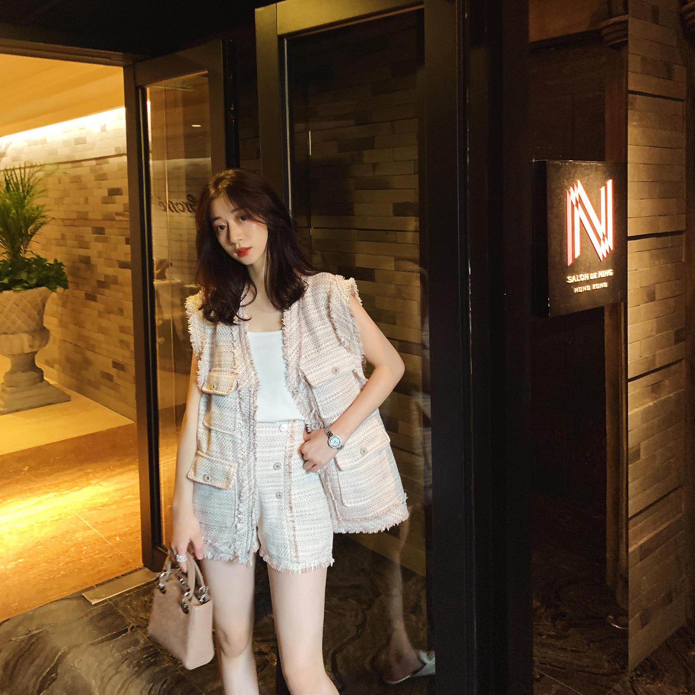 夏装2019新款套装女韩版时尚毛边马甲短裤法国小众两...¥99.9