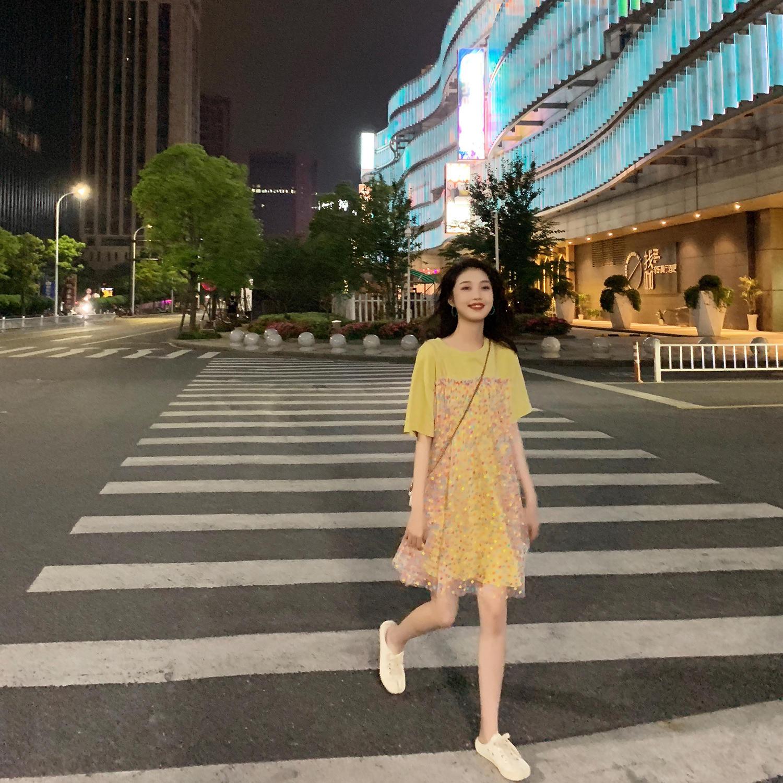 裙子女2019新款夏假两件波点欧根纱连衣裙仙女超仙甜...¥149.9
