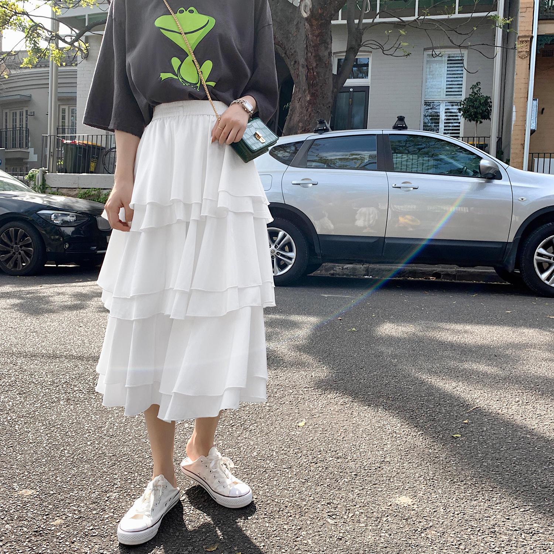 很仙的裙子女春2019新款高腰中长款a字蛋糕裙多层...¥117
