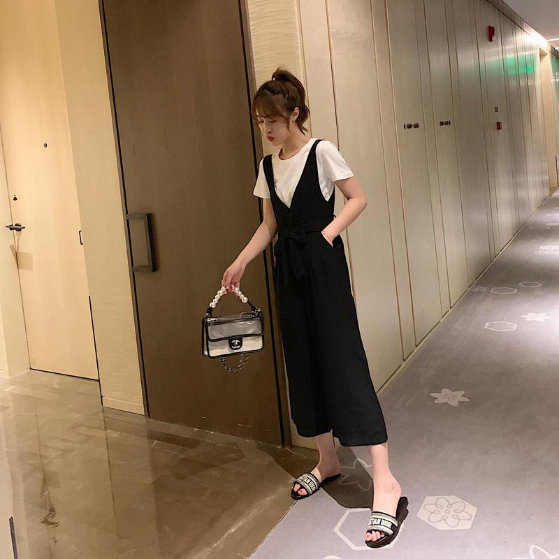 韩版宽松短袖t恤两件套夏2019新款女高腰阔腿背带裤...¥119.9