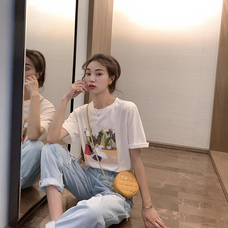 短袖女2019新款夏季可爱减龄卡通印花上衣女圆领宽松...¥59.99