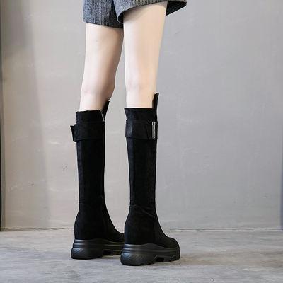骑士靴及膝靴高筒过膝马靴长筒靴2018新款秋冬厚底内增高坡跟靴子