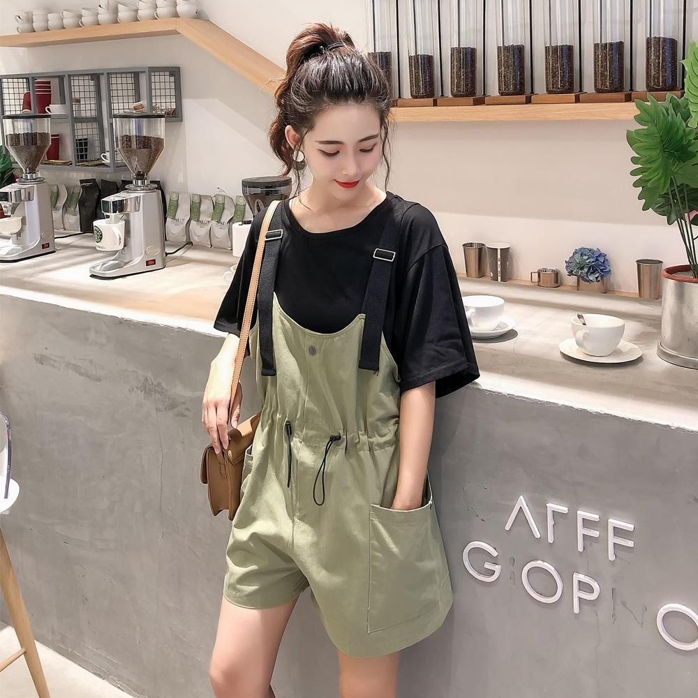 2019新款夏女宽松短袖T恤+休闲大口袋背带裤阔腿短...¥89
