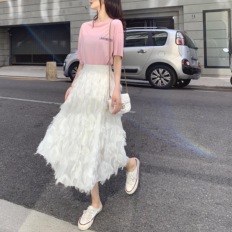 半身裙女2019新款夏中长款高腰立体流苏仙女裙适合胯...¥94.91