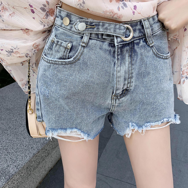 牛仔裤短裤女2019新款韩版高腰显瘦直筒裤破洞毛边裤...¥79.9