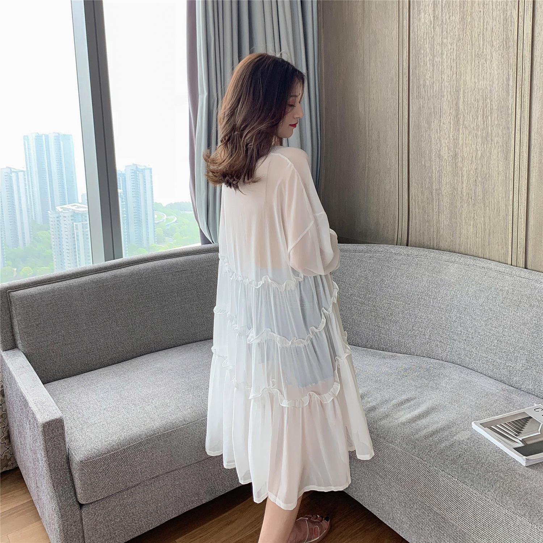 2019夏季新款韩版中长款过膝喇叭袖白色防晒开衫女宽...¥99.9