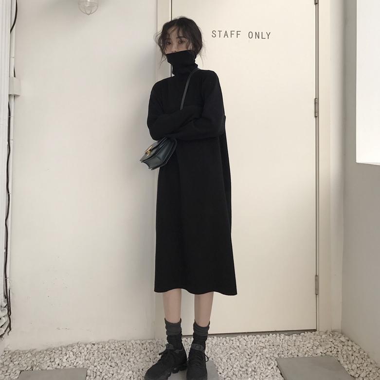 秋季韩版女装宽松显瘦过膝中长款针织毛衣裙高领长袖打底...¥55.9