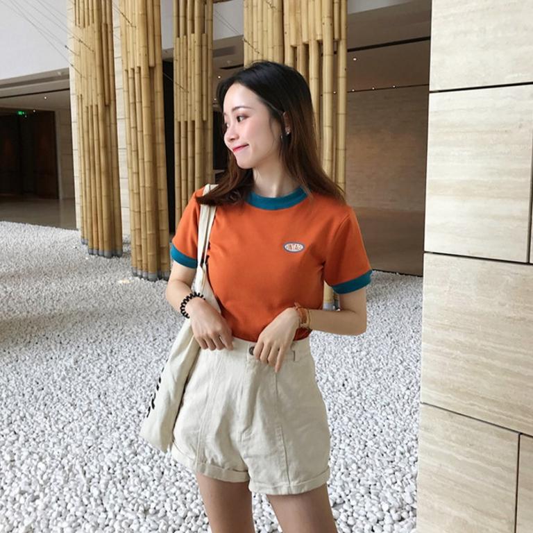 2019夏装新款韩版女装cec撞色短袖T恤修身显瘦短...¥49.9