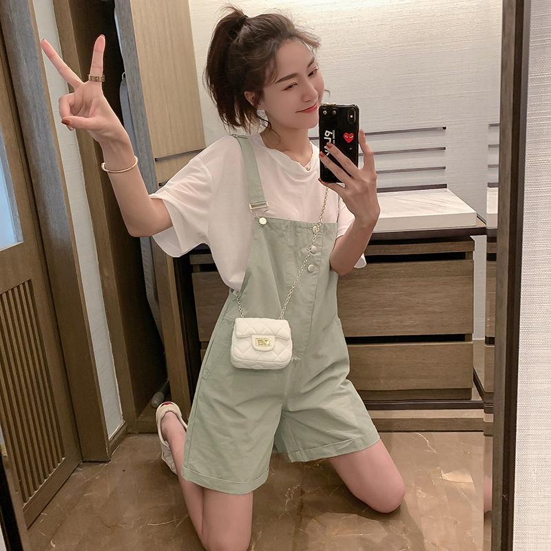 短袖女洋气上衣超火t恤时尚减龄背带裤宽松显瘦短裤小个...¥49.99