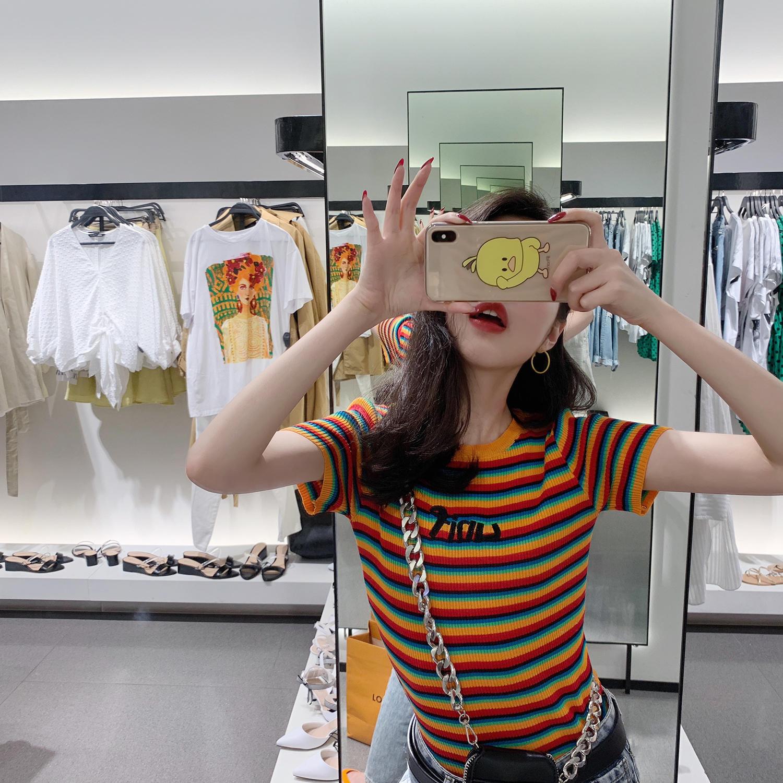 短袖女2019夏季新款洋气网红针织上衣韩版修身显瘦...¥79.9