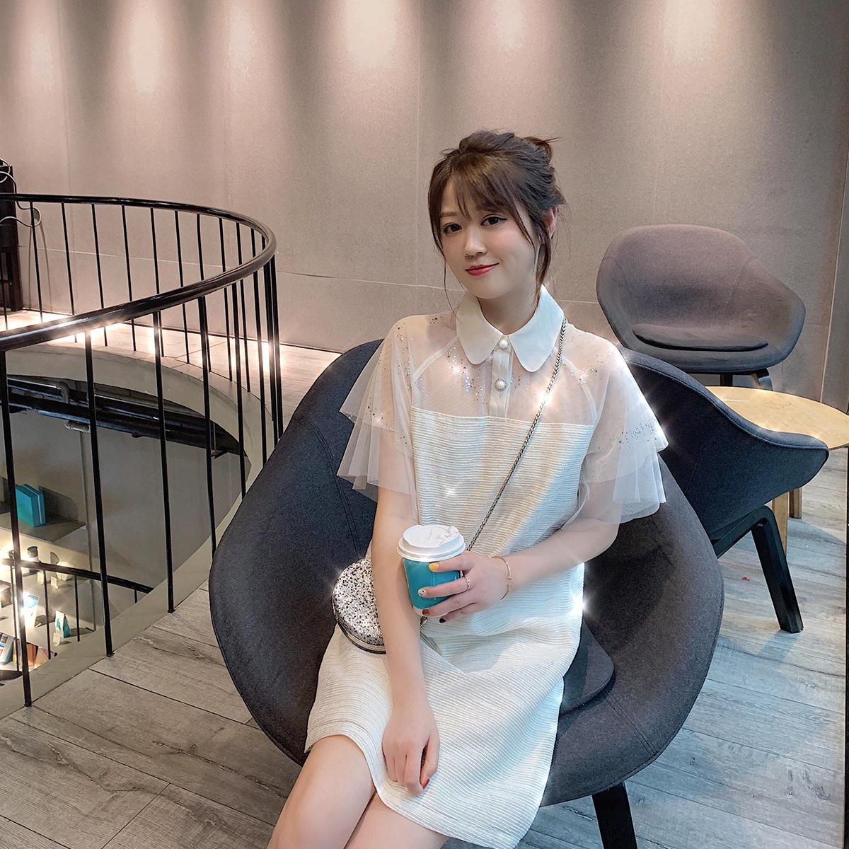 AHY网红流行裙子女2019新款夏显瘦气质短袖连衣...¥159