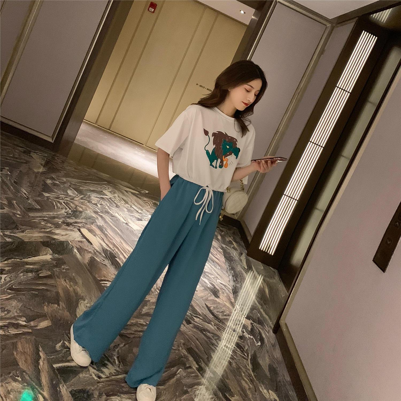 2019夏季新款韩版卡通印花T恤+休闲阔腿裤套装女设...¥59.9