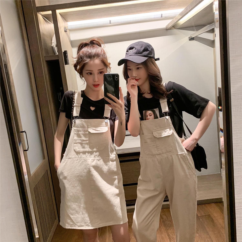 夏装2019新款韩版高腰米白色牛仔背带裤长裤女学生b...¥129.9