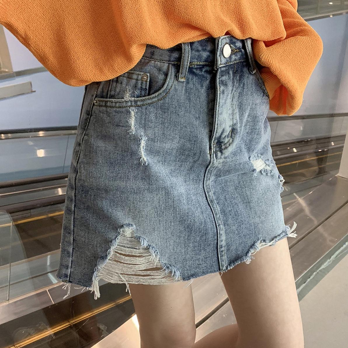 春季2019新款韩版高腰破洞牛仔半身裙短裙女chic...¥79.9