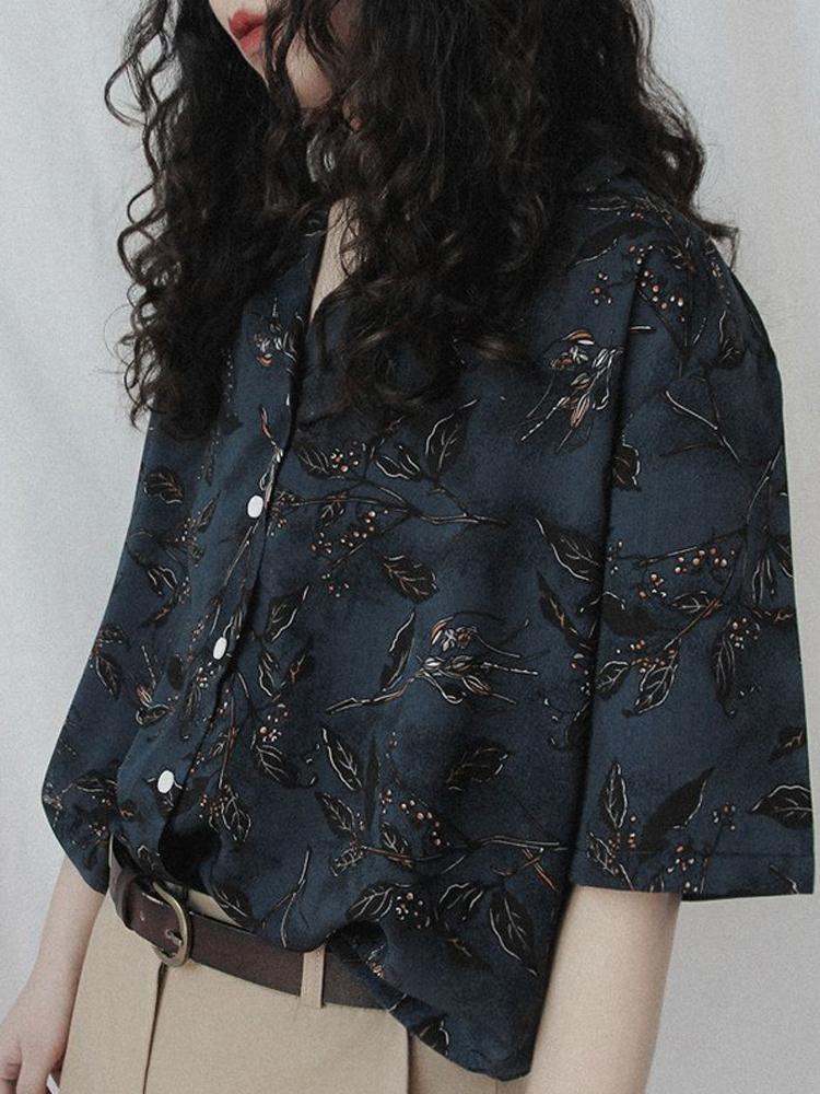 印花衬衫夏季薄款港风复古短袖日系设计感小众女装古着感衬衣上衣主图