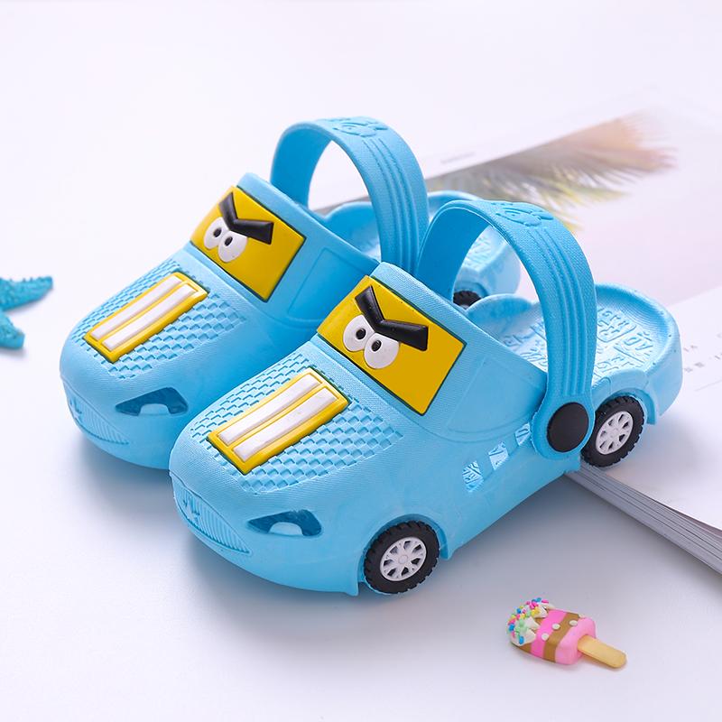 儿童拖鞋夏季新款男童卡通小汽车宝宝凉拖小孩室内防滑女童洞洞鞋主图